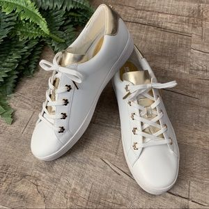 NWOT Michael Kors White & Gold Sneakers